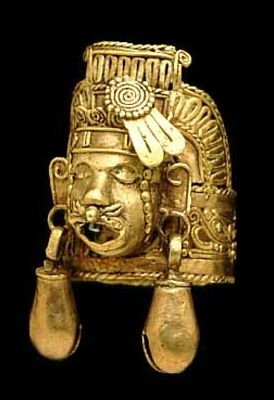 Aztec or Mixtec. gold. Finger ring with the head of Xipe (the flayed one).