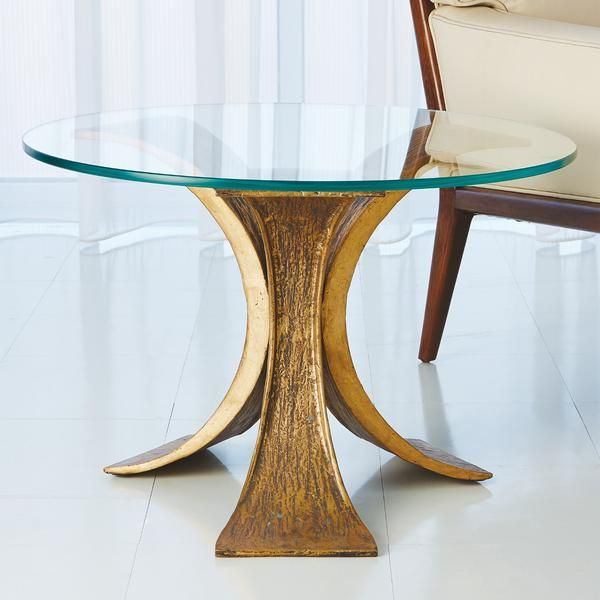 Lotus End Table Antique Gold In 2020 End Tables Gold End