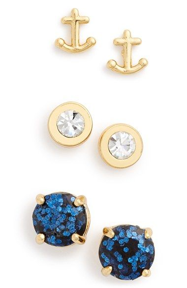 adorable nautical earrings! kate spade new york 'navy glitter' anchor & round stud earrings (Set of 3)