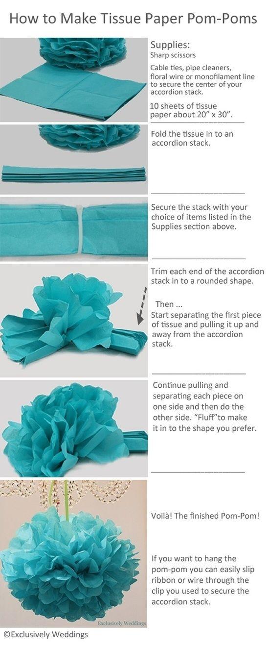 How to make tissue paper pom-poms.