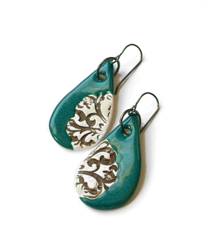 patricia ceramic earrings by Olaria Studios - $42
