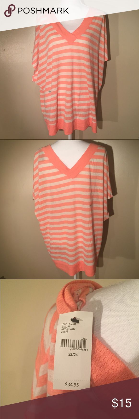 Striped batwing top Brand new with tags white and pink striped batwing top. V front and back. Banded bottom Lane Bryant Sweaters V-Necks