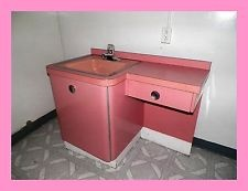 VINTAGE~1950s~RETRO~ART DECO~PINK BATHROOM VANITY WITH PINK SINK~