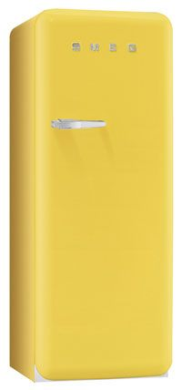 Buttercup Yellow SMEG. This brings back old memories. In 1969, in our first place, we were given an OLD refrigerator which I cleaned & spray painted bright yellow!