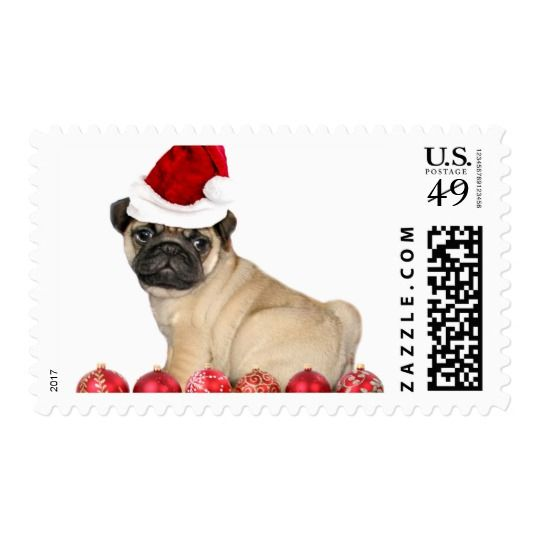 Dress up your mail with this Christmas pug stamp , comes in small and large sizes.  #christmas #pug #pugs #puggles #postage #stamp #holiday