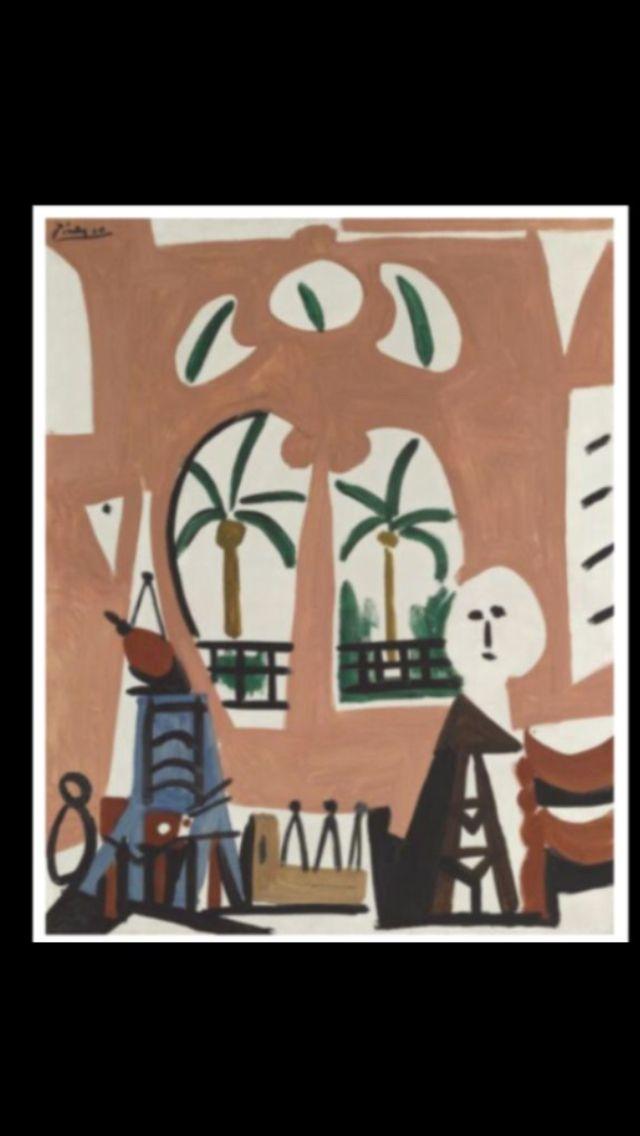 """Pablo Picasso -"""" L'atelier """", La Californie, Cannes 30 X 1955 - Huile sur toile - 81 x 65 cm (*) (..)"""