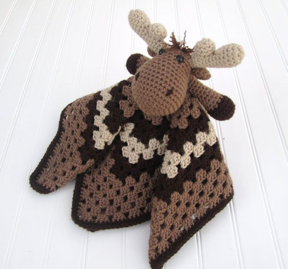 Crochet Moose Lovey Security Blanket By Sugarandspicekate