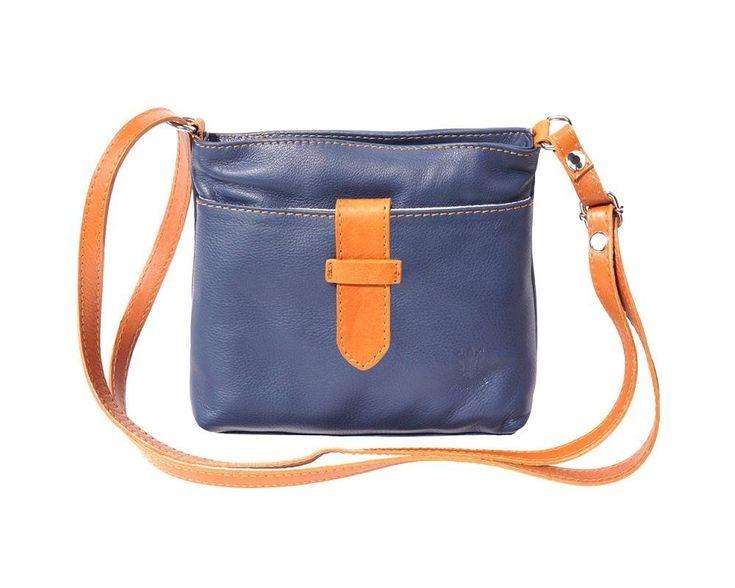 - Crossbody tas van zacht kalfsleder donker blauwe cognac kleur
