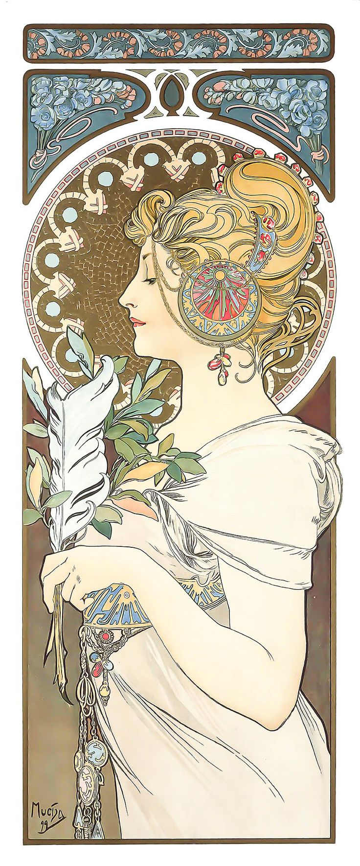 Alphonse Mucha – La Plume – The Feather – 1899 | Old Print Art