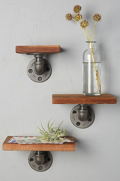 Byre Shelf Set #anthropologie - Industrial galvanized fittings + stained pine. Weekend project, $20 per shelf.