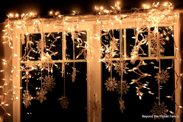 Beyond The Picket Fence: inside lights with icicles lights and dollar tree snowflakes on satin ...