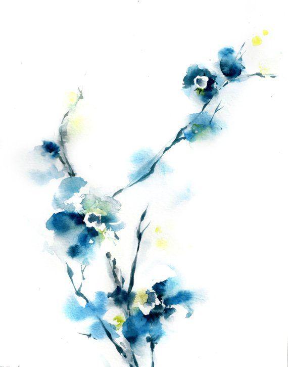 Blue Floral Fine Art Print Botanical Modern Watercolor Print