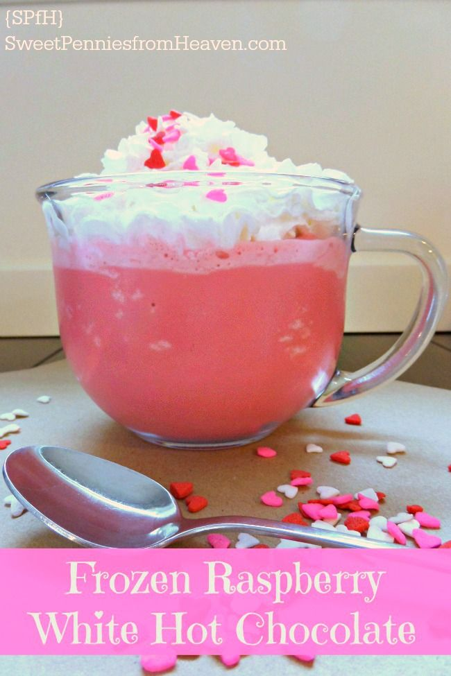 Craving a yummy and fun frozen treat? Maybe looking for a new Valentine's Day Dessert? This frozen raspberry white hot chocolate recipe is beyond delish! So rich and creamy with such a fantastic flavor! Mmmm!
