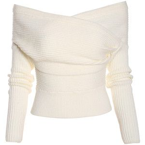 Boat Neck Wrap Front White Sweater