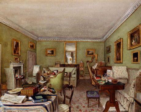 Painted By Charlotte Augusta Sneyd This Cozily Cluttered Drawing Room Would Have Been Familiar To Almost Any Middle Class Family Across England In The