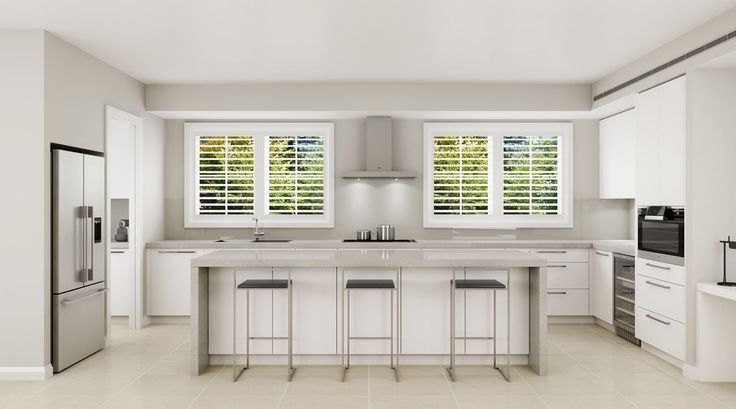 Open plan kitchen design. Walk in pantry. Soft grey tones.