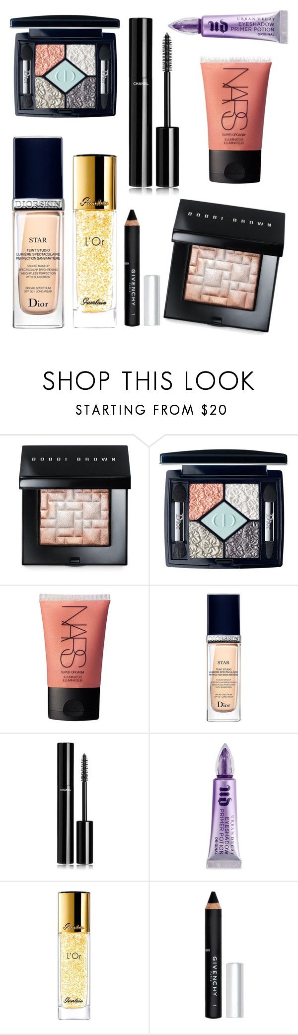 """""""High end makeup must-haves """" by kristinakai ❤ liked on Polyvore featuring beauty, Bobbi Brown Cosmetics, Christian Dior, NARS Cosmetics, Chanel, Urban Decay, Guerlain and Givenchy"""