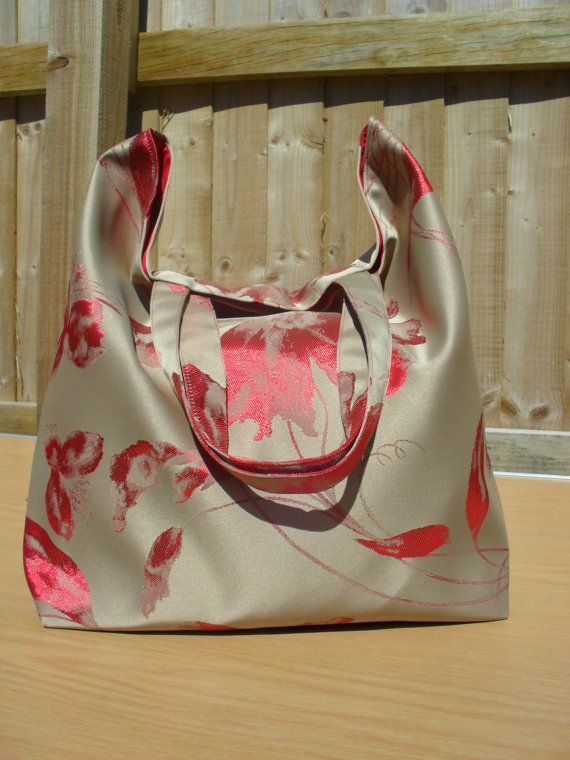 Large Red Flower on a Bronze background Tote Bag by LDCcreations, £15.00