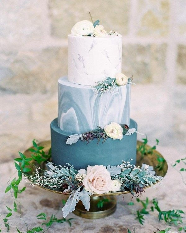 Four Tiers Of Delicious Seascapes Wedding Cake Blue Watercolor