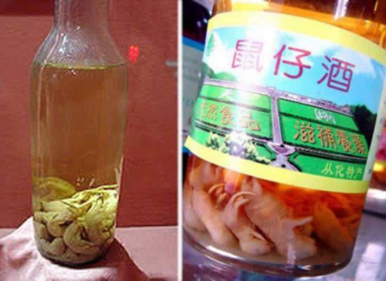 Licor de arroz con bebés de rata. - Considerado un tónico para la salud en regiones de Corea y China, esta bebida se realiza ahogando roedores bebés en barriles de licor de arroz que se dejan fermentar por dos años.