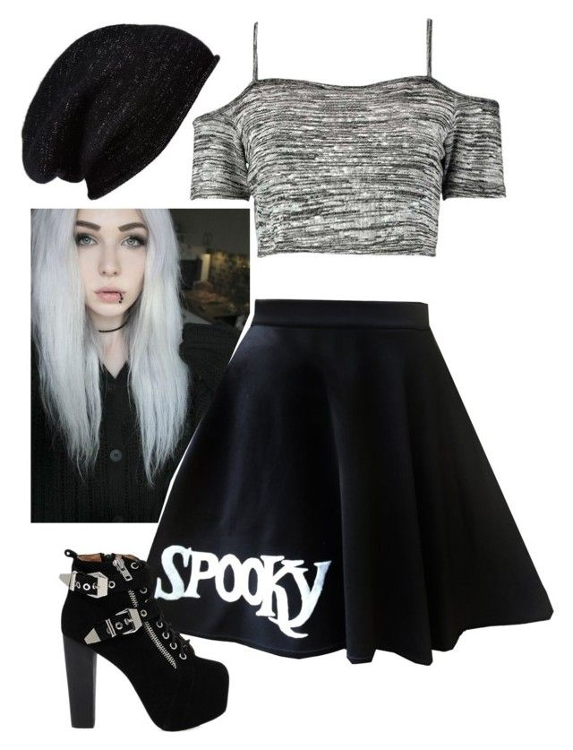 """Untitled #1684"" by jeffthekillerlover22 ❤ liked on Polyvore featuring Halogen, Boohoo and Jeffrey Campbell"