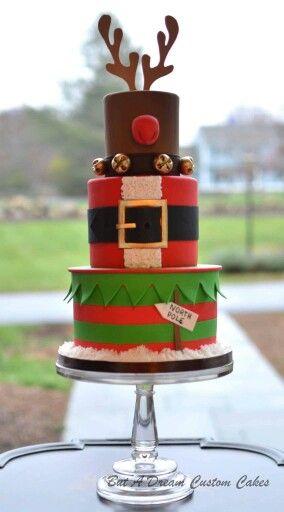 Reindeer Santa Elf tiered Christmas Cake