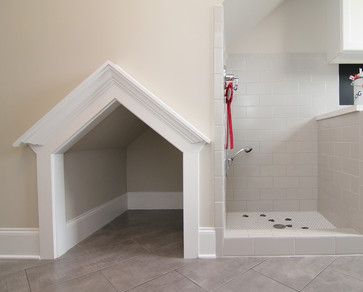 Dog shower in the mud room transitional laundry room