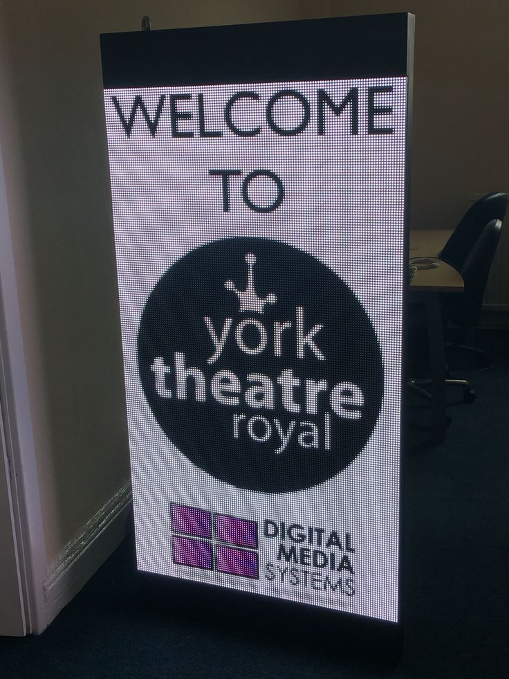 P6 LED digital signage display for York Theatre Royal.   On test for 48 hours continuous use.   3 installed in a triangle formation above the entrance canopy.