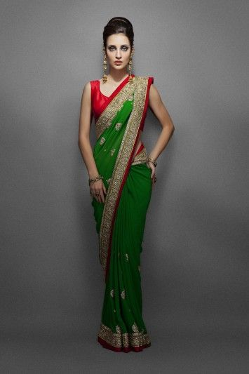 Green Sari with Ethnic Kundan Border