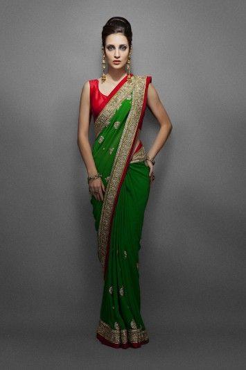 Green Sari with Ethnic Kundan Border