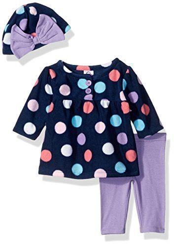 Gerber Baby 3 Piece Micro Fleece Top, Pant and Cap Set, big dots, 12 Months