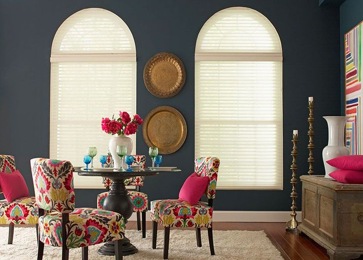 Highlight uniquely shaped windows with custom sheer shades.  #BudgetBlinds