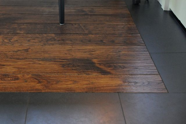 Wood Around Tile Wood Floor With Tile Border Dream