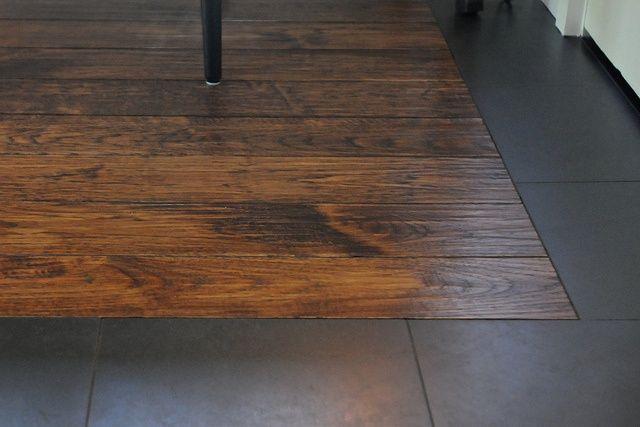 wood around tile   Wood floor with tile border   Dream House Ideas