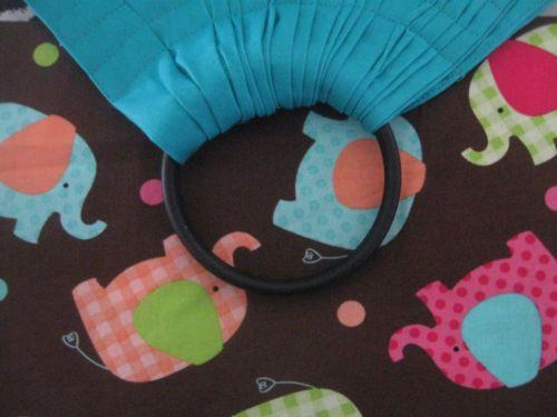BABY RING SLING INFANT TO TODDLER wrap carrier TEAL BASE ELEPHANTS TRIM+POCKET
