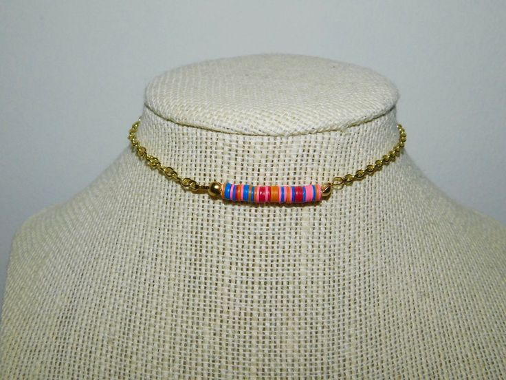 Chain Chokers || Gold Chain Choker || African Vinyl Beaded Choker || Gemstone Choker ||Chained Choker||Multicolor Choker||Gold Beaded Choker by SamanthaTaylorMade on Etsy