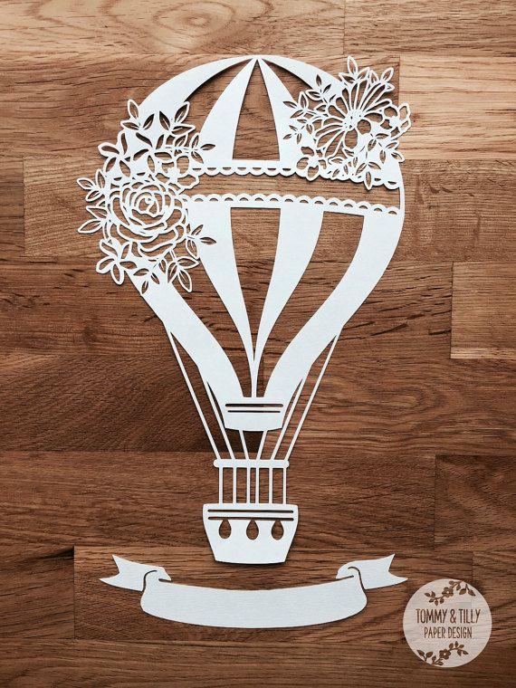SVG / PDF Wedding Hot Air Balloon Design Papercutting