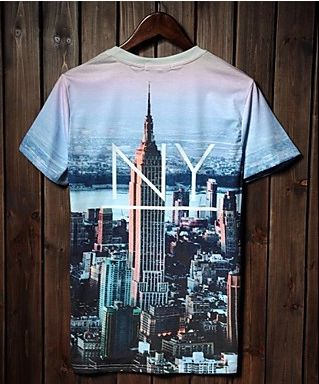 Mens Designer New York Landscape Short Sleeve T-Shirt