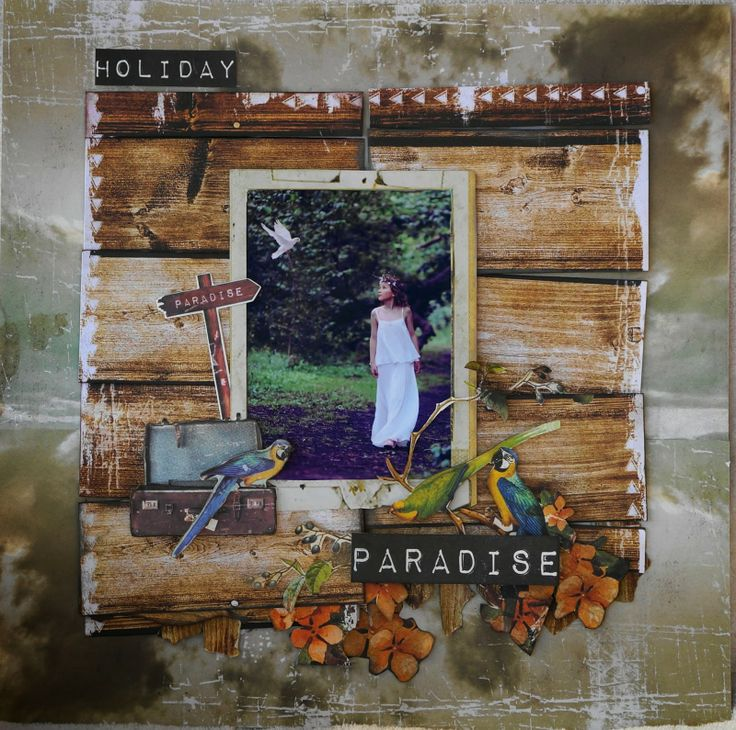 'Holiday Paradise' Layout by Geraldine Pasinati. Kaisercraft Materials used: Paradiso Collection - Sandy Toes (P1373), Getaway (P1379), Excited (P1377), Sticker Sheet (SS211), Collectables (CT778).
