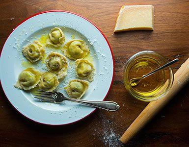 Mascarpone, spinach and ricotta tortelloni are a cheesy delight.