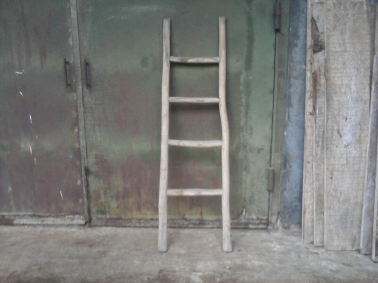 Rustic off white Teak log wood ladder from master garden products, www.mastergardenproducts.com