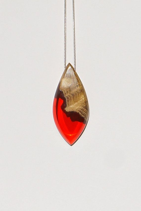 Wood and Resin Necklace Red Pendant  Handmade by OceanBlissDesign