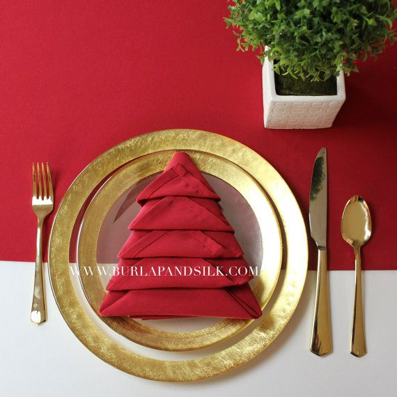 Red Napkin for Weddings, 20 inch Red Napkins, Christmas Table Decor | Wholesale Cloth Napkins