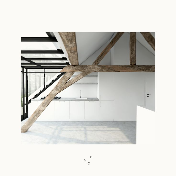 De Nieuwe Context transformeert zolder tot studio #attic #beams #wood #interior  #kitchen #studio #dutchdesign #architecture #dutch #glass #ceiling #open #loft