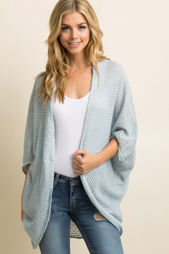 05945d7150659 Light Blue Open Knit Dolman Sleeve Cardigan