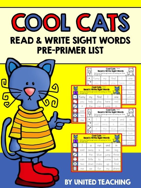 FREE Cool Cats Read & Write Sight Words >> Roll the die and read the sight words in the matching row >> Fun and interactive way to learn reading and writing sight words