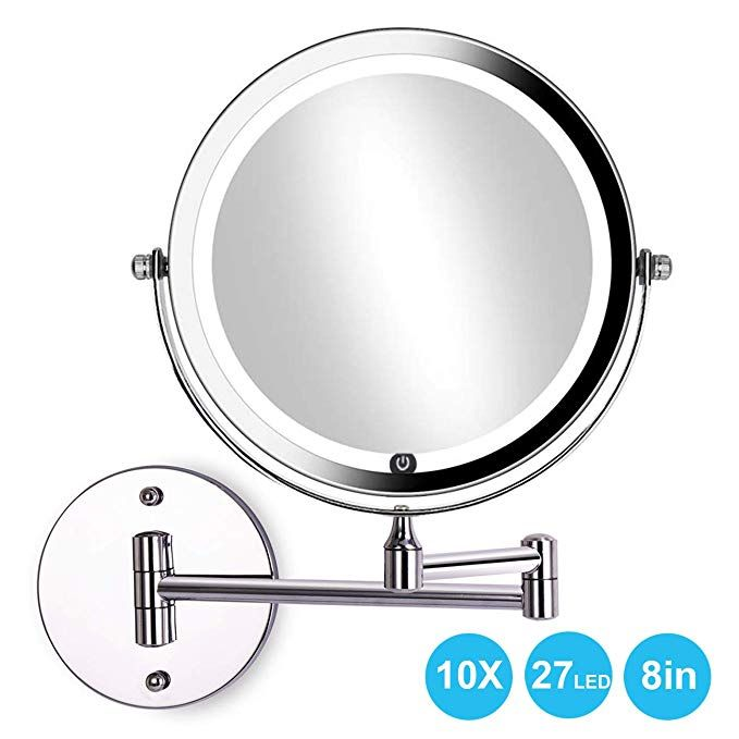 Acolar Led 8in Wall Mounted Makeup Mirror With Lights 10x Magnifying Double Sided Extendable Mirror For Bathroom 360 Degree Rotation Adjustable Powered By 4xaaa With Images Wall Mounted Makeup Mirror Extendable Mirrors Makeup