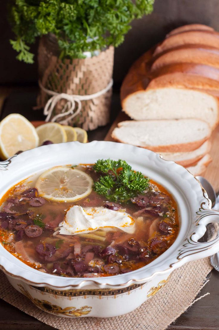 Rustic Smoked and Sour Soup - Solyanka   Eastern European Cuisine (first night in Latvia...serve with dill sprinkled over top) -- Saldus