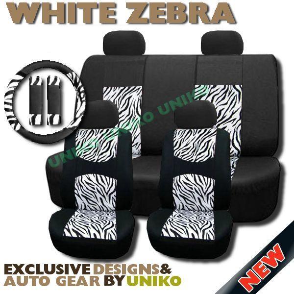 Zebra Mesh Seat Covers Set White Black Print Steering Wheel Cover 4 Headrests