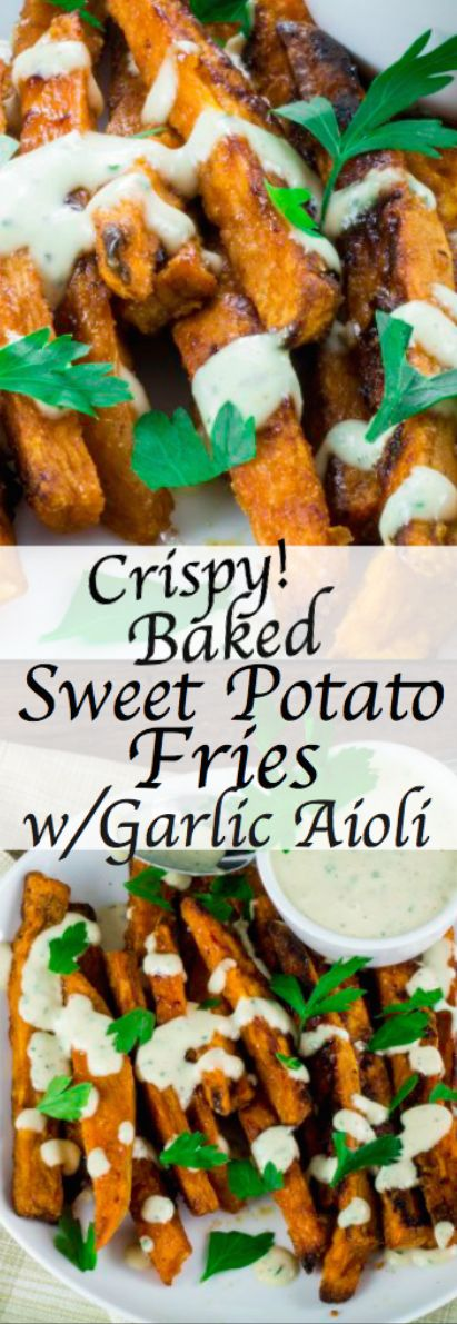 Sweet, smokey and deliciously easy to make, these Crispy Baked Sweet Potato Fries with Garlic Aioli Dipping Sauce are exactly what you need to curb you pub-food cravings. These sweet potato fries are best when eaten warm, which compliments the cool, zesty garlic aioli sauce perfectly. Just be sure to make enough, these won't last long!